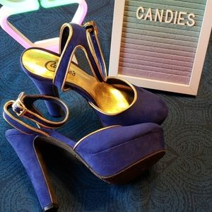 Electric Blue Candies Size 6 Pin Up High Heels